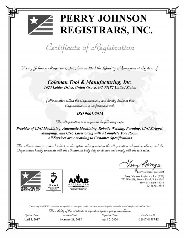 Coleman Tool Manufacturing Inc., ISO, cnc machining
